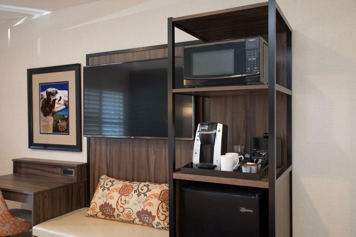 amenity tower with microwave and fridge
