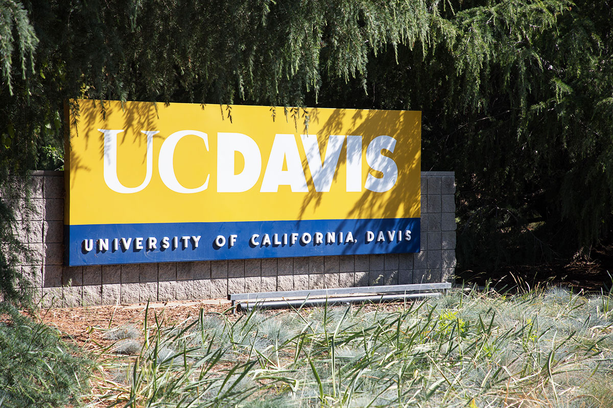 Image shows UC Davis sign